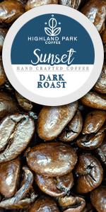 Highland Park Coffee Single Serve Keurig K cup pods Sunset blend premium dark roast cafe  k-cups