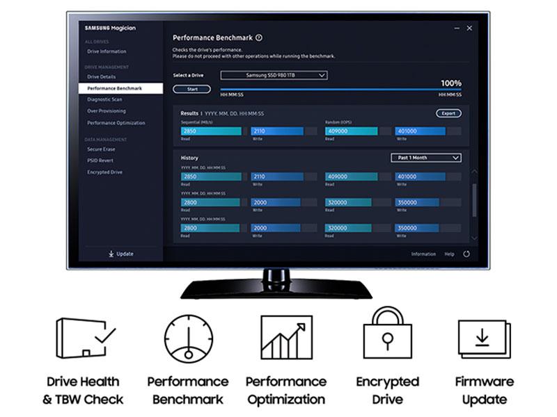 Samsung Magician software interface