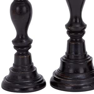 Deco 79 14309 Wood Candle Holders Set, Dark Espresso, Set of 3