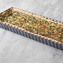 "14 x 5"" loose bottom quiche pan; rectangular tart pan; rectangular quiche pan; non-stick quiche pan"