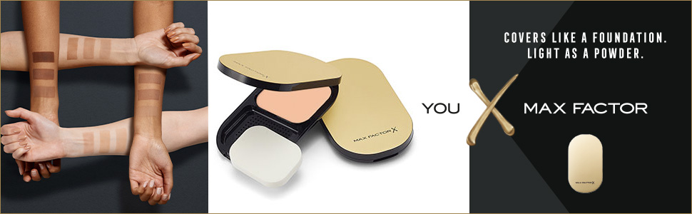 max factor facefinity compact open and closed with arm swatches