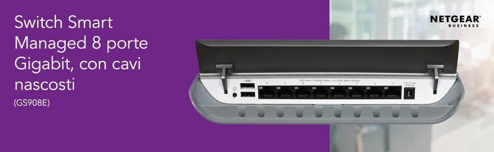 NETGEAR 8-Port Gigabit Ethernet non gestito Switch Desktop alloggiamento cavi nascosti