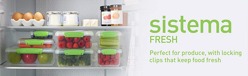 Sistema Fresh Perfect for produce, with locking clips that keep food fresh