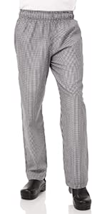 Chef Works Men's Essential Baggy Chef Pants, Small Check