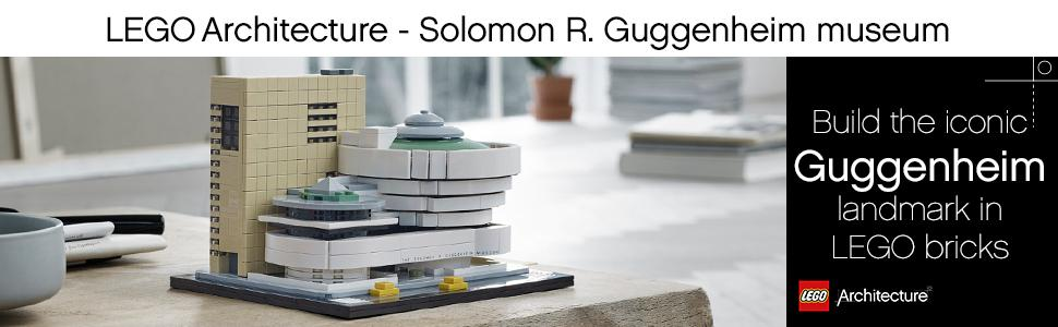 lego architecture, solomon R. Guggenheim museum, building kit, display, art, museum