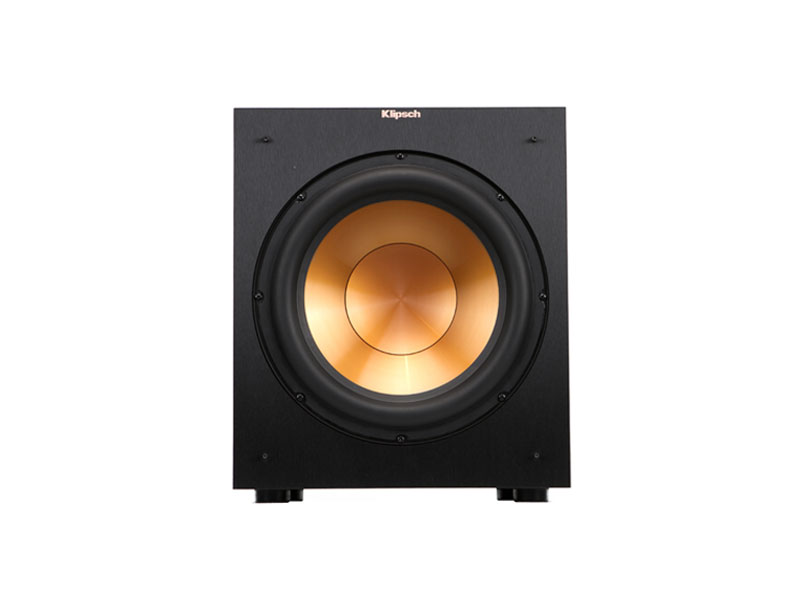 Klipsch R-12SW premium subwoofer from the front without a grill on white