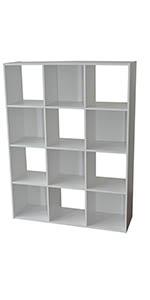 Compo 12 Casiers Meuble de Rangement Etagères Cubes Blanc