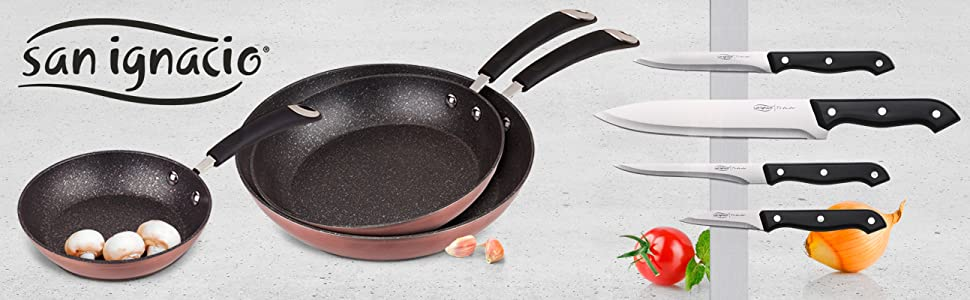 San Ignacio Premium Moma Set 3 sartenes + 4 Cuchillos, Aluminio Forjado, 3 Piezas