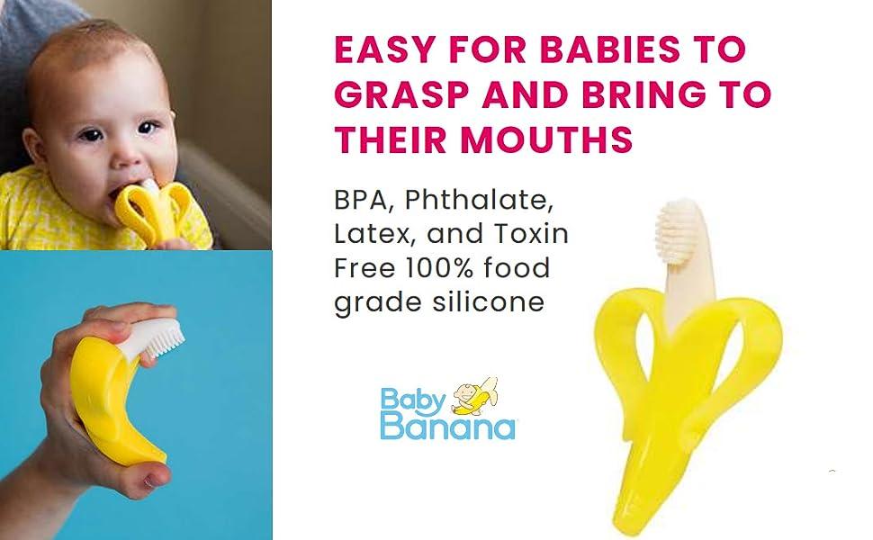 baby banana, baby toothbrush, baby brush, banana toothbrush