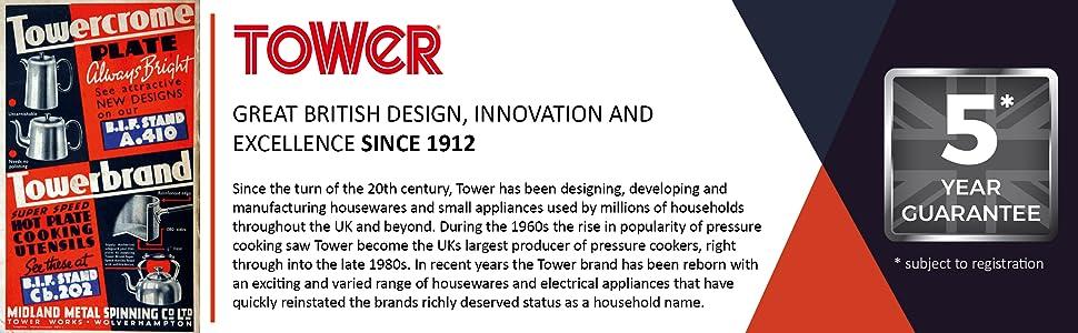 Tower T832030 Cerastone grafite effetto marmo Set di 5 utensili da cucina design ergonomico