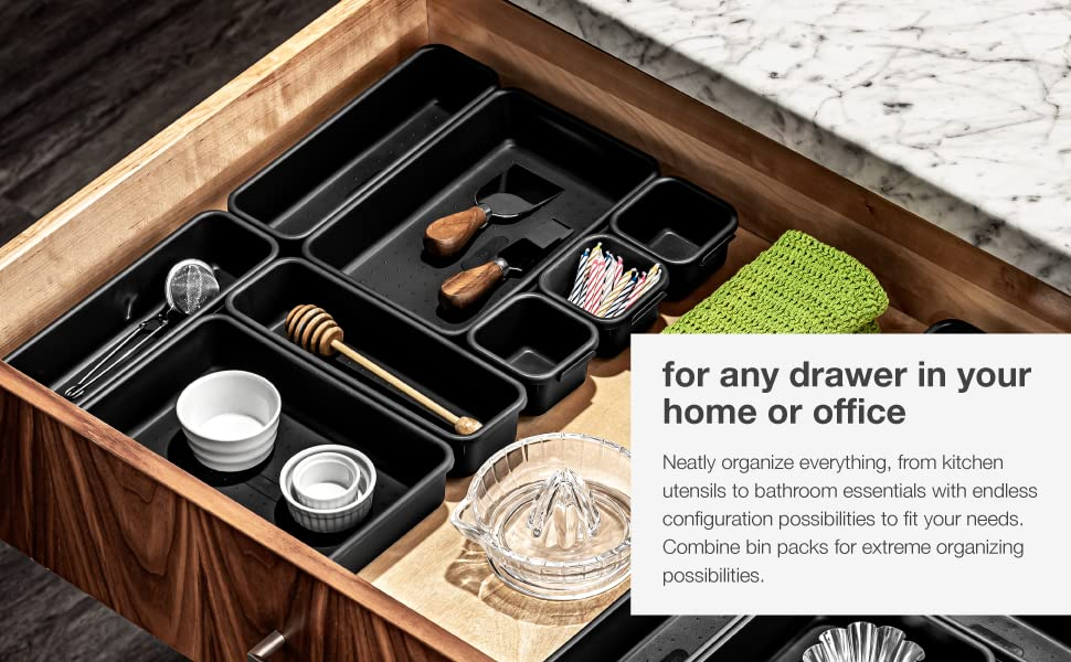 interlocking 8 piece bin pack, versatile, custom organizer