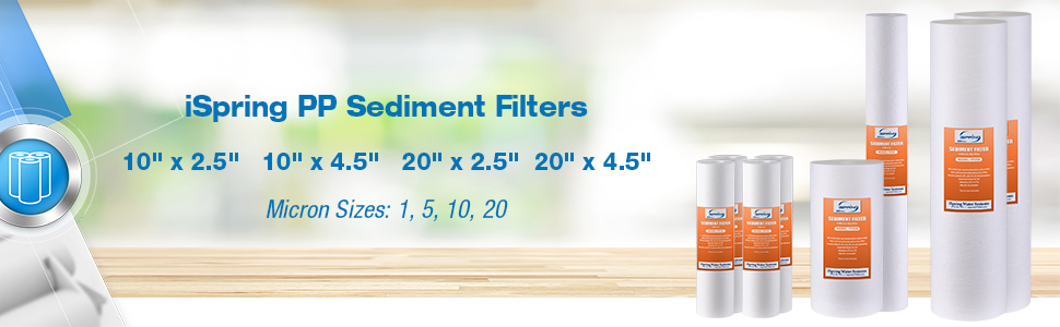 25 Pack 10 x 2.5 Universal Multi-layer Sediment Water Filter Replacement Cartridges iSpring FP150X25 50 Micron