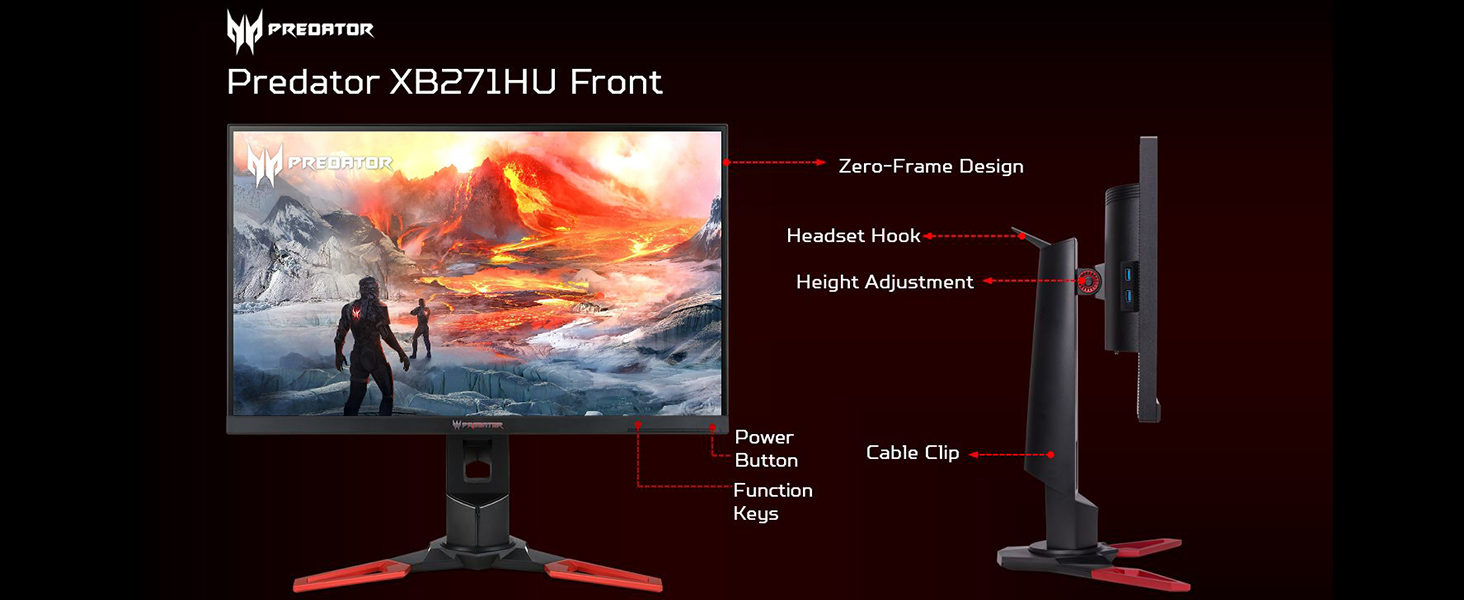 Acer Predator XB271HU NVIDIA G-SYNC 165Hz WQHD IPS Amazon Choice Gaming Monitor