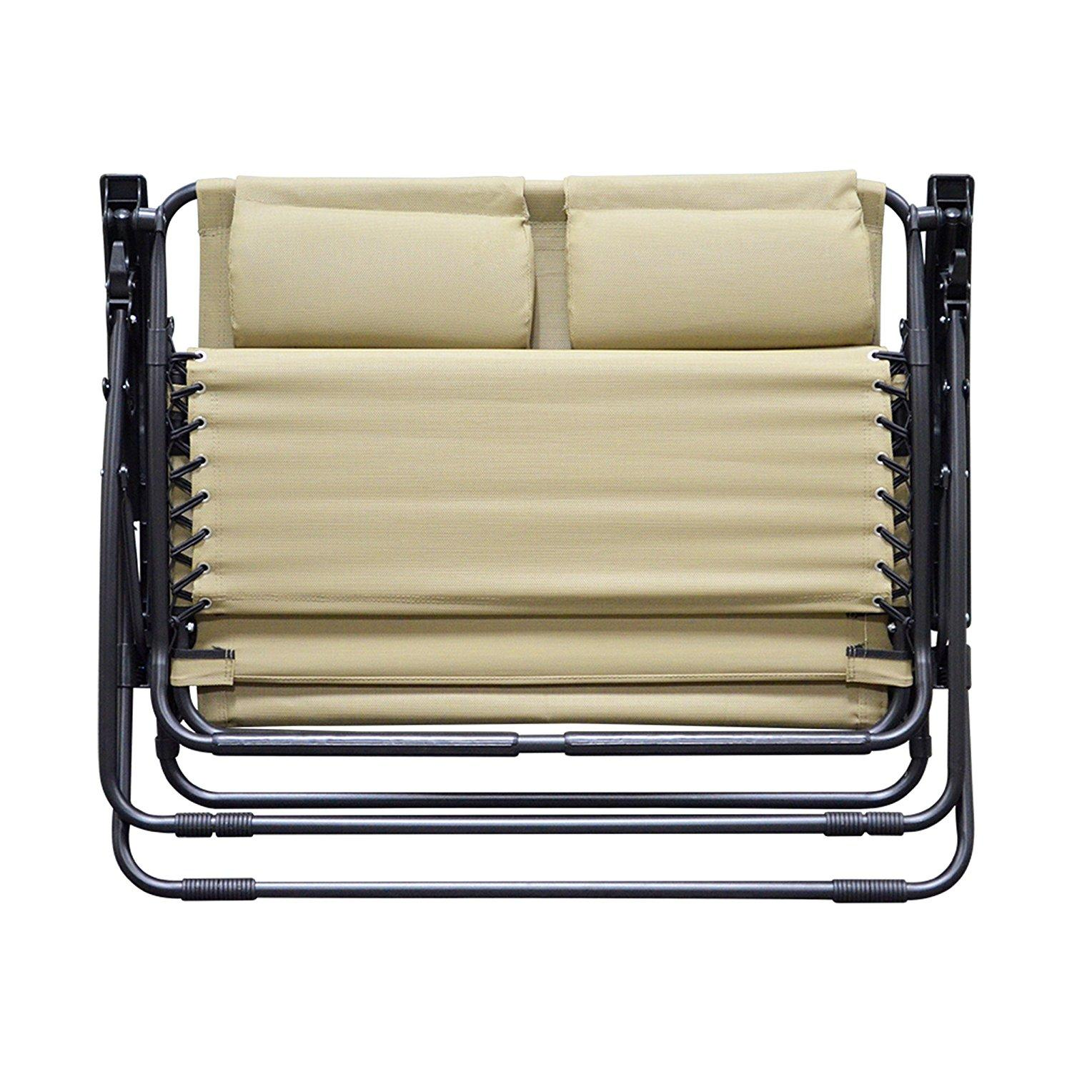 Caravan Sports Zero Gravity Chair Loveseat Beige Garden Outdoor