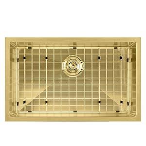 WHNPL2918, Brass, Noah Plus, Kitchen, Sink, Stainless Steel, Grid, Drain, Undermount, Drop in