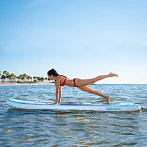 SereneLife Inflatable Stand Up Paddle Board (6 Inches Thick) with Premium SUP