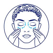 Ilustração de mulher aplicando o creme abaixo dos olhos