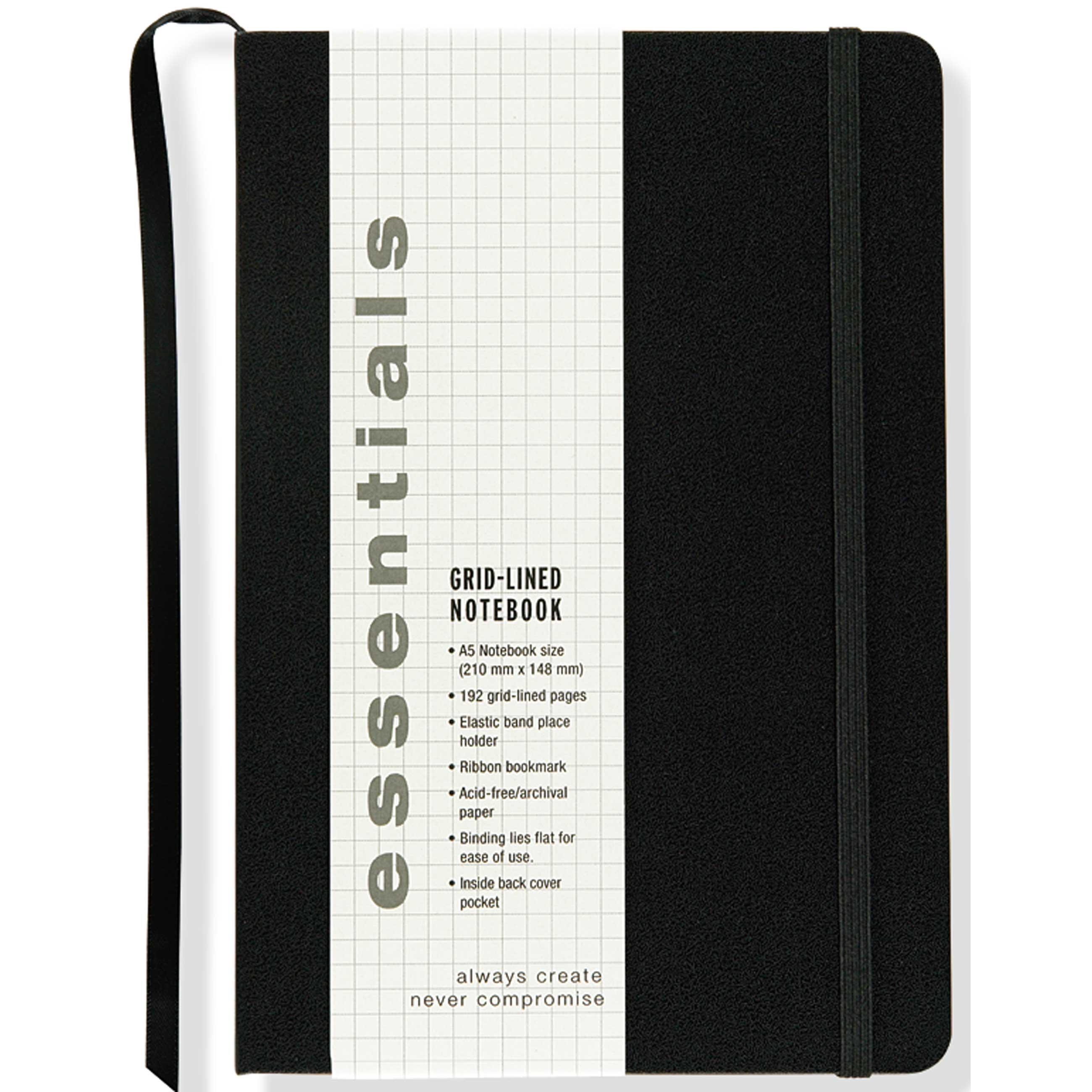 essentials grid lined notebook large a5 size journal diary