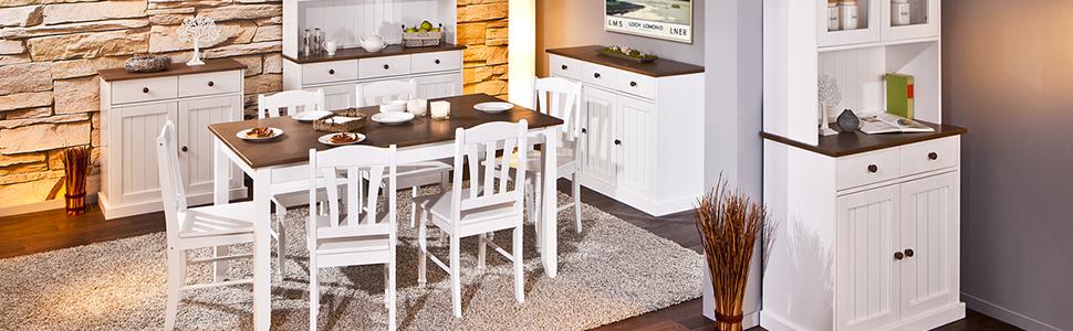 Bois massif, pin, salle à manger, blanc, bois, cuisine, maison de campagne, table, chaise, buffet, commode.