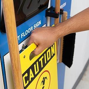 wet floor sign holder mop handles