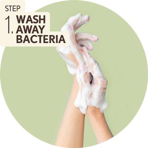 Step 1 Wash away bacteria - hand washing