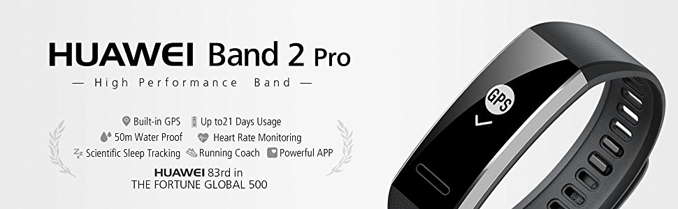 huawei band2 pro with built-in gps, up to 21 days usage, 5ATM, heart rate rating
