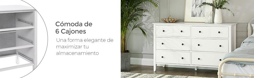 VASAGLE Cajonera, Cómoda con 6 Cajones, con Marco de Madera Maciza, para Habitación, Salón, Blanco RCD02WT