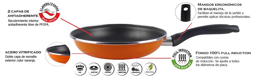 Magefesa Valencia Sartén 22 cm de Acero esmaltado, Antiadherente bicapa Reforzado, Color Naranja Exterior. Apto para Todo Tipo de cocinas, incluida ...