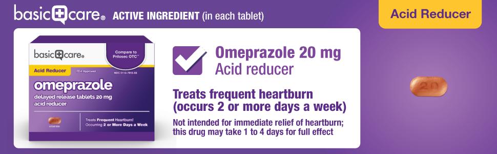 basic care omeprazole delayed release tablets 20 mg, acid reducer, heartburn