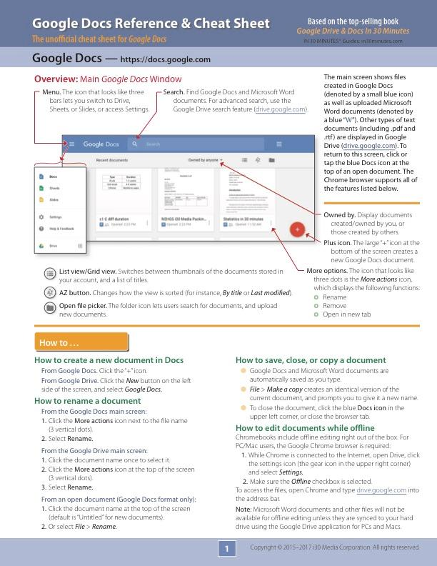 Google Docs Reference and Cheat Sheet: The unofficial cheat sheet