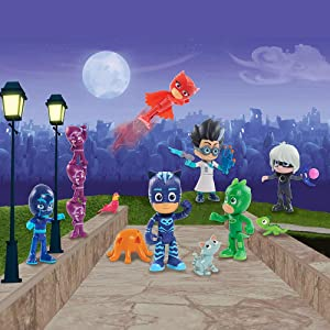 PJ Masks hero and villain figures, luna girl, romeo, night ninja, ninjalinos