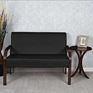 mia, regency, niche, loveseat, couch, sofa, mocha walnut, black leather, seat, bentwood, wallpaper,