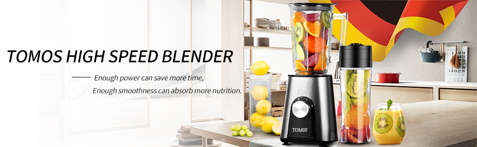 Tomos Smoothie Blender, 300w Personal High Speed Blender for Shakes,  Smoothies and Juice with