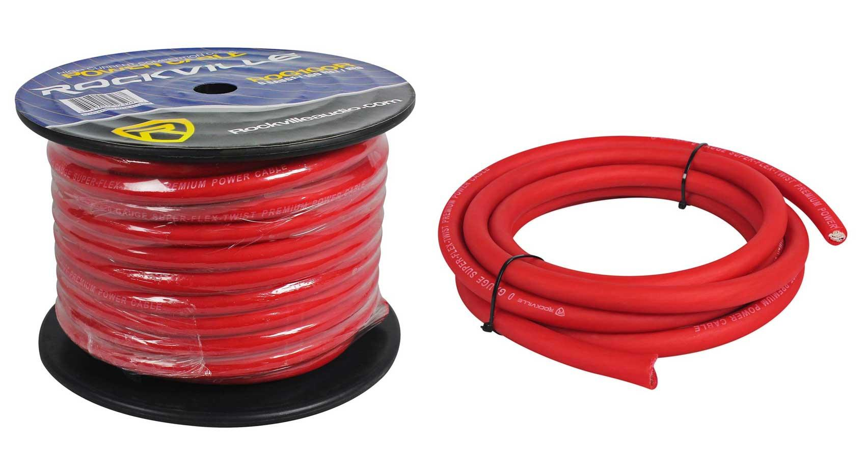 Rockville R0G100 RED 0 Gauge AWG 100 Foot Spool Car Amp Power/Ground Wire Cable