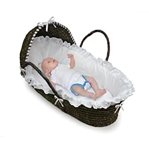 Badger Basket Hooded Baby Moses Basket with Liner and Pad