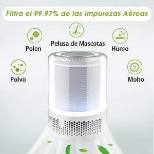 Purificador de Aire TOPELEK, Filtro HEPA Verdadero, Filtro Grande ...