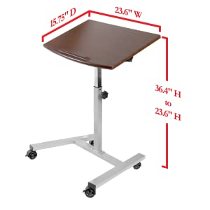 sevilleclassics tilting top height adjustable standing desk cart mobile rolling ledge walnut wood