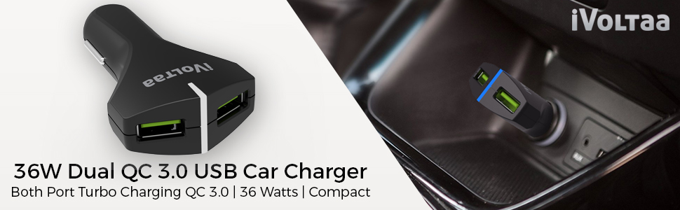 36watts qc car charger 3.0 iphone samsung dual port xiaomi redmi oppo vivo pixel head 1