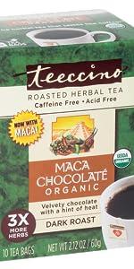 Teeccino Maca Chocolate Herbal Tea made with organic maca for a natural energy boost.