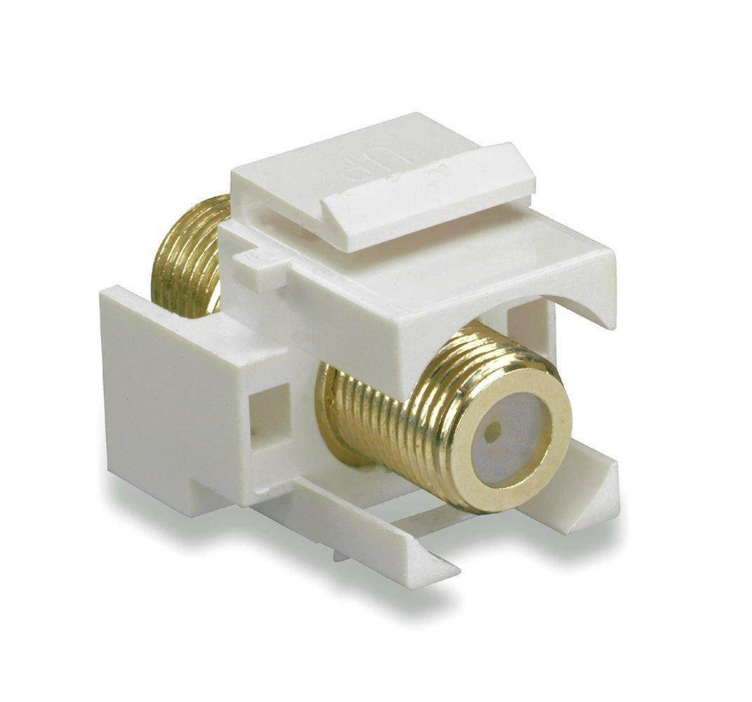 100 Pack Lot F-81 Coax Keystone Jack Snap-In Cable TV Coupler Connector White