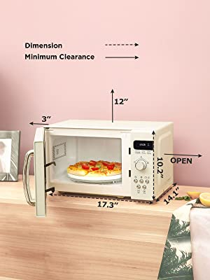 COMFEE AM720C2RA-A Retro Style Countertop Microwave Oven with 9 Auto Menus Position-Memory Turntable, Eco Mode, and Sound On/Off (Cream), 0.7Cu.Ft