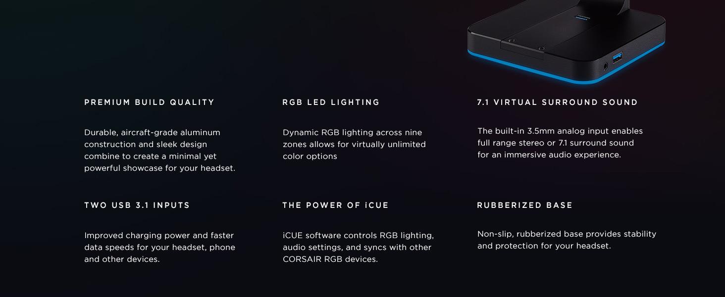 CORSAIR ST100 RGB Premium Headset Stand with 7 1 Surround Sound - 3 5mm and  2xUSB 3 0