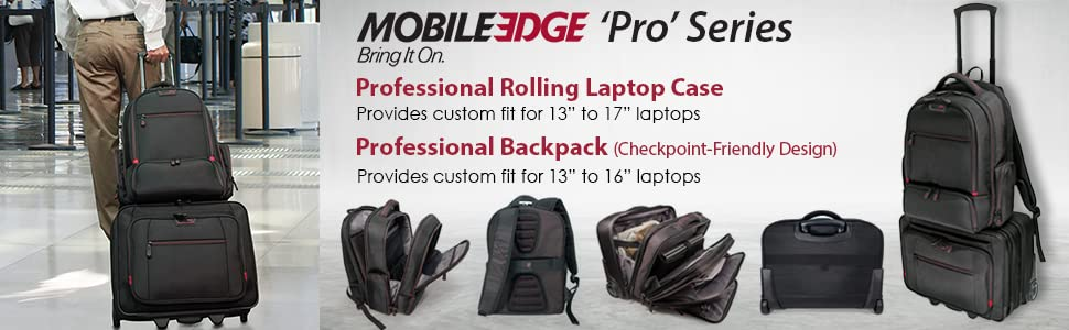 """Mobile Edge Professional series, perfect for traveler and gamer, custom fir for 13"""" to 17"""" laptops"""