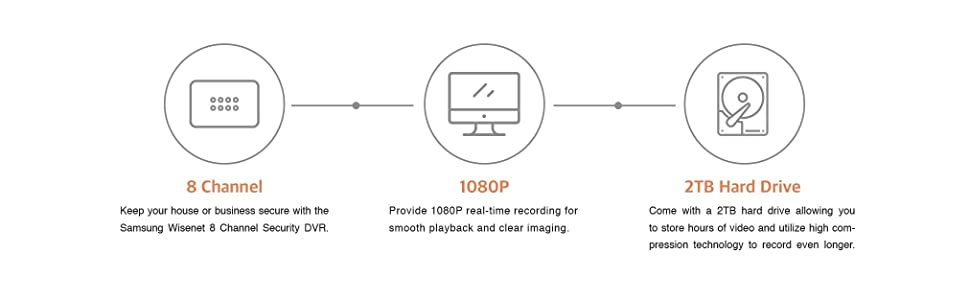 SDH-B74081 - Samsung 8 Channel 1080p HD 2TB Security Camera System on