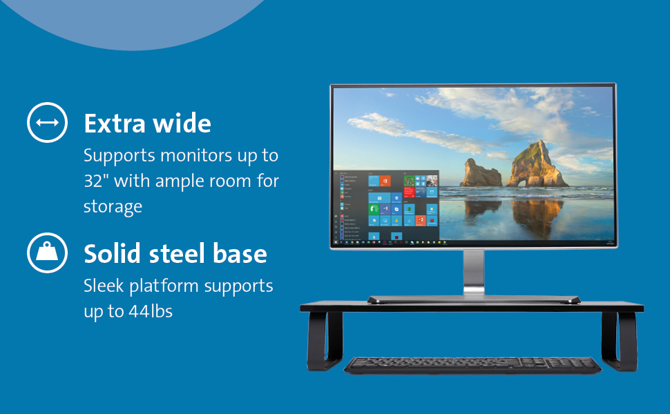 Kensington Extra Wide Monitor Stand Fits Monitors up to 32 Inches and 44 Pounds Black K55726WW