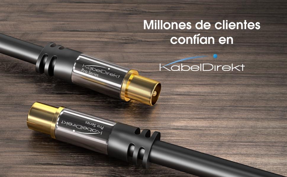 KabelDirekt – 2m Cable Coaxial Antena (Clase A, Soporta DVB-T, DVB-S, DVB-C, DVB-S2 y HDTV, para TV y Radio), Pro Series