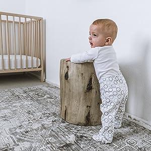 baby pants crawler play footy celestial grey circles modern cotton gift cozy