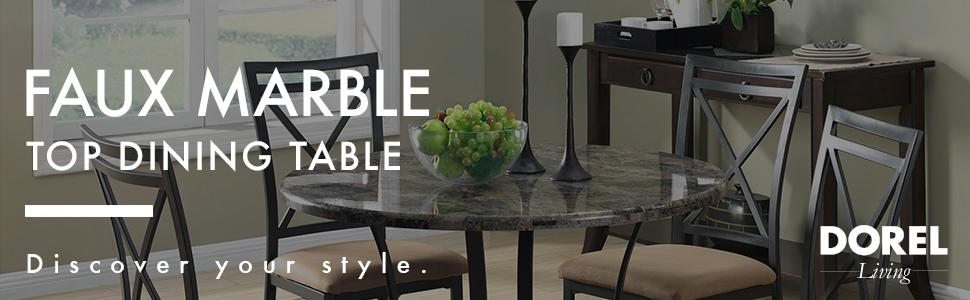 Dorel Living Faux Marble Top Dining Table Small