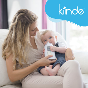 mom and baby with squeeze bottle