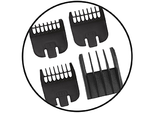 Guide Combs Guards provide even trimming lengths